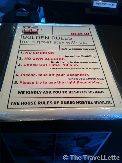 One 80 Hostels Berlin Hostelregeln