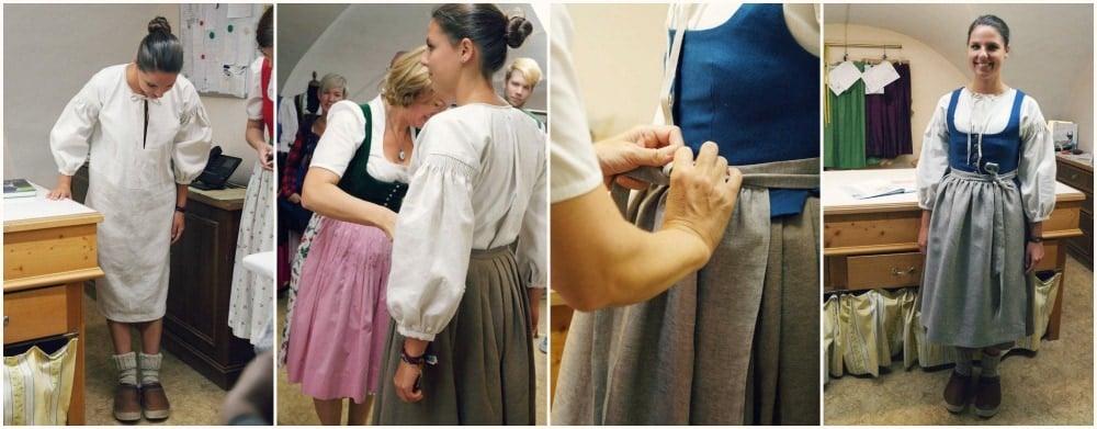Heimtwerk Salzburg Dirndl Anprobe